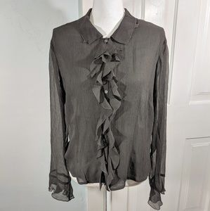 Sundance Catalog 12 Silk Sheer Top Ruffle Button